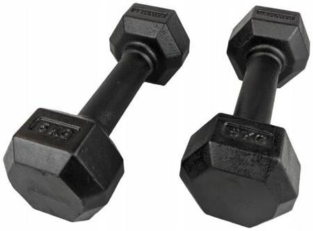 Zestaw hantli żeliwnych hexagonalnych HEX 2 x 5 kg