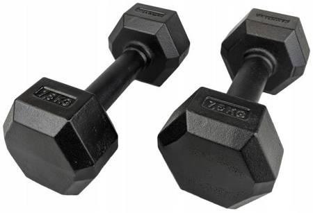 Zestaw hantli żeliwnych hexagonalnych HEX 2 x 7,5 kg